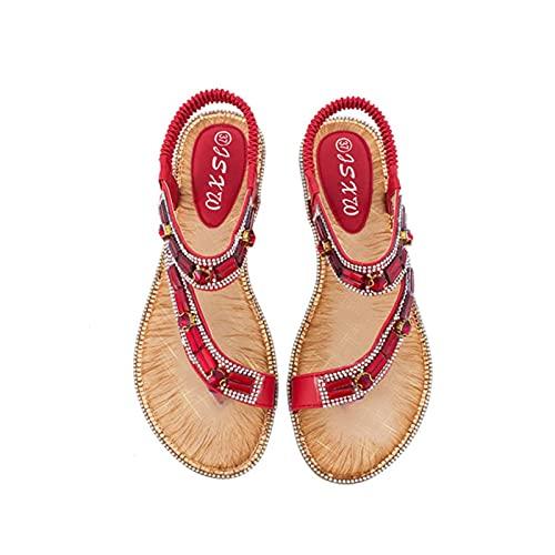 RHH Shop Damen-Schuhe, Bohemian-Stil, überkreuzte Bordüre, Sandalen, für Damen (Farbe: Rot, Größe: 7)