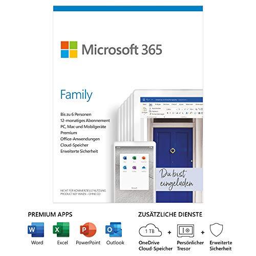 Microsoft 365 Family | 6 Nutzer | Mehrere PCs/Macs, Tablets und mobile Geräte | 1 Jahresabonnement |Box
