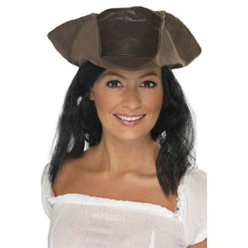 NET TOYS Piratenhut Damen Piraten Hut Dreispitz Damenhut Pirat Kopfbedeckung Piratenbraut Kostüm Zubehör