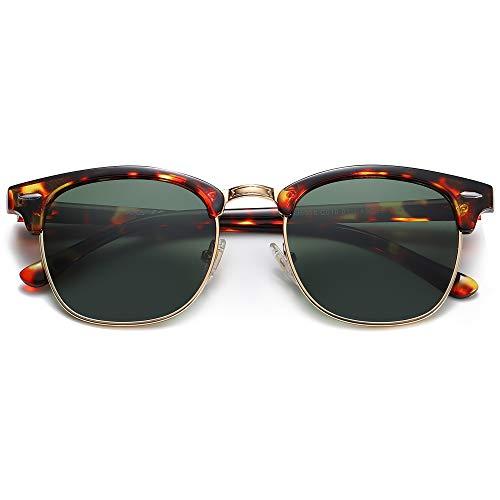 SOJOS Damen Herren Sonnenbrille Polarisiert UVprotect Optik Retro Vintage Horn Gestell Halbrahmen SJ5018 mit Gelber Schildkröten Rahmen / G15-Linse