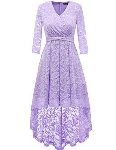 DRESSTELLS Abendkleider elegant Cocktailkleid Unregelmässig Spitzenkleid Vokuhila Floral Kleid Lavender XL