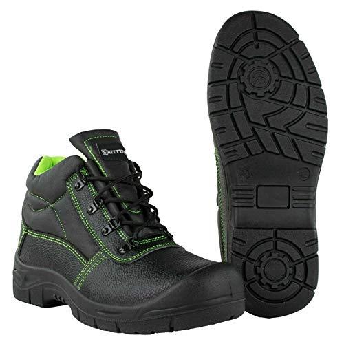 SAFETYTEX Sicherheitsschuhe S3 Stahlkappe Leder Arbeitsschuhe schwarz Schnürstiefel Halbschuhe leicht ergonomisch rutschhemmend, Schnürstiefel, 44