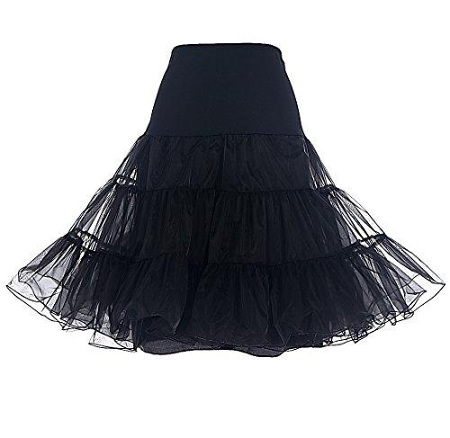 DRESSTELLS 1950 Petticoat Reifrock Unterrock Petticoat Underskirt Crinoline für Rockabilly Kleid Black XL
