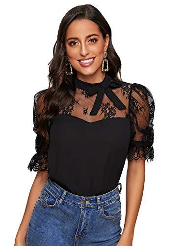 DIDK Damen T-Shirt Rüschen Bluse mit Spitzen Knoten Schleife Vorn Knöpfe Oberteile Taille Tops Modell #2 Schwarz L