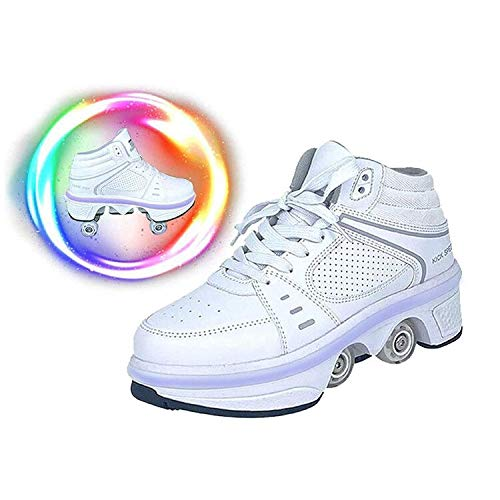 LDTXH Schuhe mit Rollen 2 in 1 Multifunktionale 4 Rad Schuhe mit Rollschuhe Verformung Schuhe 7-Farbwechsel Lichtleiste Verstellbare USB wiederaufladbar für Männer Frauen Und Kinder,36