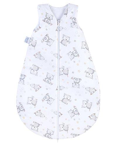 Julius Zöllner Baby Sommerschlafsack aus 100 Prozent Baumwolle, Größe 90, 12-24 Monate, Standard 100 by OEKO-TEX, Made in EU, Häschen und Eule
