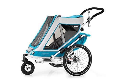 Qeridoo Speedkid2 (2020/2021) Fahrradanhänger für 2 Kinder, Kinderanhänger - Petrol