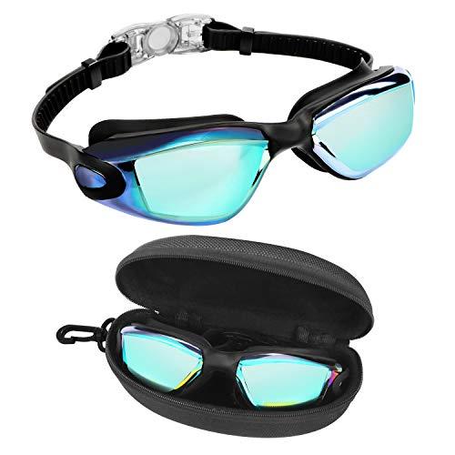 Bezzee Pro Schwimmbrille - UV-Schutz & Antibeschlag Taucherbrille mit Etui - Kein Auslaufen & Verstellbare Silikon Riemen, Schwimmbrillen für Erwachsene, Herren, Damen und Jugendliche zum Schwimmen