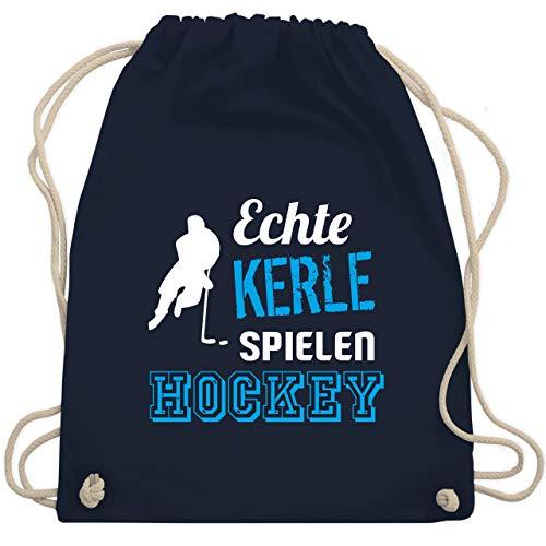 Shirtracer Eishockey - Echte Kerle spielen Hockey - Unisize - Navy Blau - eishockey tasche kinder - WM110 - Turnbeutel und Stoffbeutel aus Baumwolle