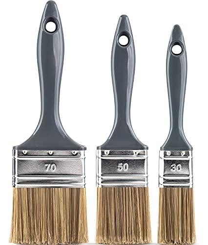 Flachpinsel Set 3-teilig für Lacke & Lasuren - 30mm 50mm 70mm für wasserbasierte & lösemittelhaltige Farben