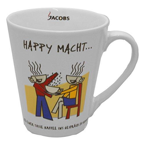 Jacbos Kaffeebecher HAPPY MACHT…, Kaffeetasse, Kaffee Becher, Porzellan, 250 ml