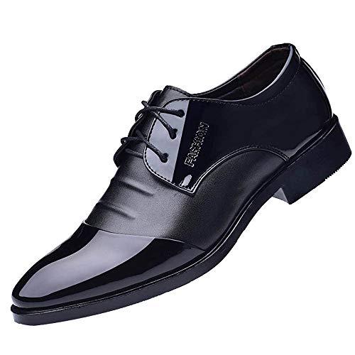Patifia Schuhe , Mode für Männer Business Lederschuhe Casual Spitzschuhe Männlichen Anzug Schuhe Anzugschuhe Schwarz Herren Lässige Faule Schuhe