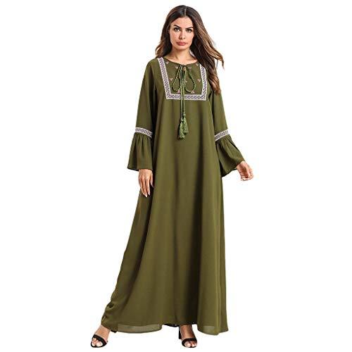 Lazzboy Muslimische Kleid Stickerei Abaya Jilbab Kaftan Indian Muslim Islamic Arab Middle Eastern Ramadan,muslimische Arabische Mittlere Damen Schnür-lätzchen Langen ärmeln Schnürung(Armeegrün,3XL)