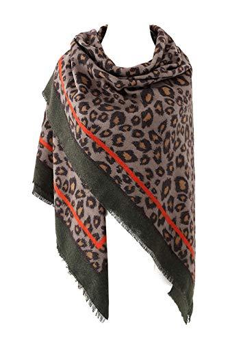 EXCHIC Damen Oversized Leopardenschal Winter warme Schal (Armeegrün)