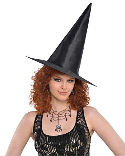 Amscan 840860-55 - Hexen-Hut, Einheitsgröße für Erwachsene, Schwarz, konische, spitze Form, klassischer Hut aus glänzendem Polyester, Karneval, Halloween, Verkleidung, Kostüm
