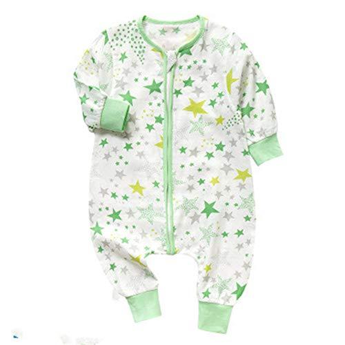 Elonglin Unisex Baby Schlafsäcke Schlafstrampler Overall Süß Komfort Strampelanzug Winter Herbst Weich Gruen 1 (vorne 4,hinte 2 Schichten Asie 90(für Körperhöhe 75-85cm)