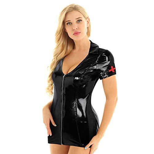 iEFiEL Wetlook Damen Krankenschwester Kleider Sexy Minikleid Leder-Optik Schwarz Bodycon Kleid V-Ausschnitt Partykleid Stretch Clubwear Schwarz X-Large