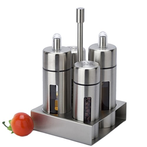 Antcher Basic Menage-Set, Edelstahl und Acryl, Öl-und Essigspender, Salz- und Pfefferstreuer Gewürzständer, 4-teilig