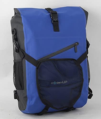 modernUp Fahrradtasche für Gepäckträger | XXX L | Gepäckträgertasche für Laptop, Dokumente & Co | wasserdicht & extrem geräumig | Fahrrad Kombi auch als Rucksack & Tasche (Blau, 27 Liter)