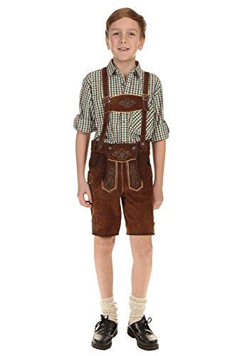 Isar-Trachten Kinder Lederhose kurz Trachtenlederhose Jungen mit Träger und Stickerei 55811 braun Gr.140