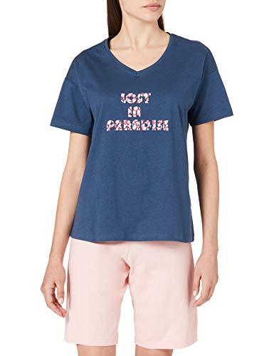 Schiesser Damen Schlafanzug kurz 1/2 Arm Oberteil und Bermuda Hose Pyjamaset, Petrol, 44
