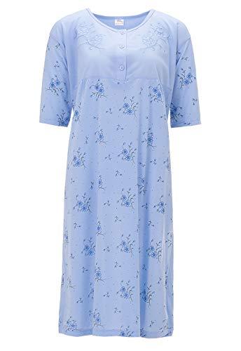 LUCKY Nachthemd Übergröße 3XL - 6XL Damen Kurzarm Plus Size Blumen Schlafshirt, Farbe:blau, Größe:4XL