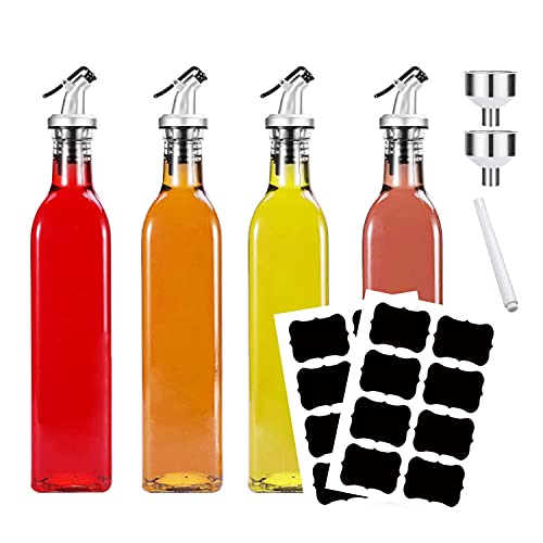 Aischens Essig und Öl Spender 4er Pack, Olivenöl Spender Flasche, Ölflasche mit Ausgießer, Olivenöl Dispenser mit Anti-Schmutz Verschluss, mit 2 Trichter für Küche Grill Pasta Salate und Backen