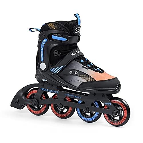 SMJ RX23 Herren Inliner Inlineskates | Rollen 90mm / 82A | ABEC7 Kugellager | Fitness Skates für Jugendliche und Erwachsene | Schwarz (44)