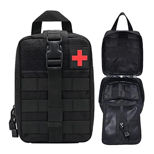 Kaiyei Militär Tactical First Aid Tasche, Erste Hilfe IFAK Tasche Überlebens Kit Molle Notfalltasche Medzinische Bauchtasche Wasserdicht 900D Oxford für Wandern Radfahren Camping Schwarz