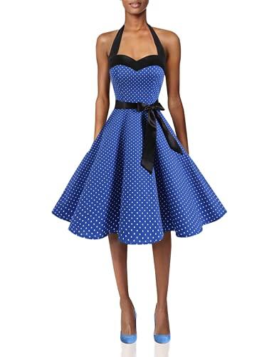 DRESSTELLS Rockabilly Brautkleid Damen Neckholder 1950er Vintage Retro Cocktailkleid Petticoat Faltenrock Royal Blue Small White Dot S