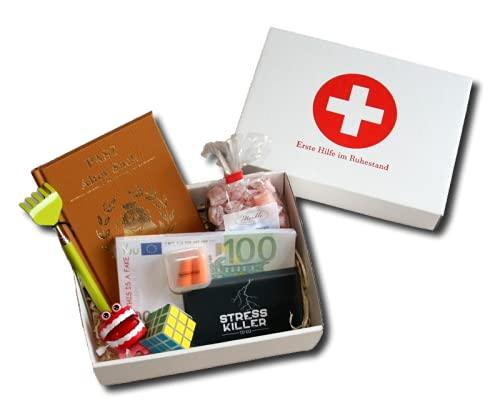 Erste Hilfe im Ruhestand Geschenkbox | Witzige Geschenke Rente Mann | Abschiedsgeschenk Pensionierung Männer