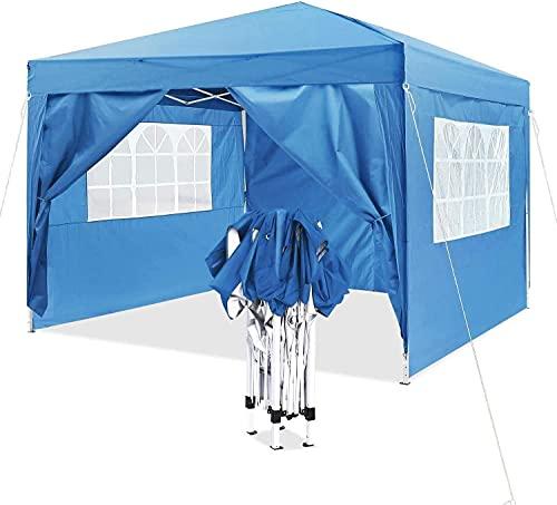Pavillon 3x3m Wasserdicht,Faltpavillon mit 4 Seitenteilen,UV-Schutz von 50+,Pop up Pavillon,Sonnenschutz,Tragetasche, Partyzelt,Gartenpavillon Tragbare,Blau