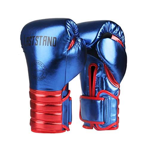ZHBH Muay Thai Mikrofaser Leder Boxhandschuhe Erwachsene Kinder Damen Herren MMA Gym Training Grant Boxing Equipments,Blau,8oz
