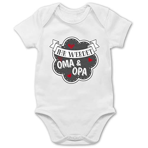 Shirtracer Statement Sprüche Baby - Ihr werdet Oma und Opa - 1/3 Monate - Weiß - oma Opa Body - BZ10 - Baby Body Kurzarm für Jungen und Mädchen