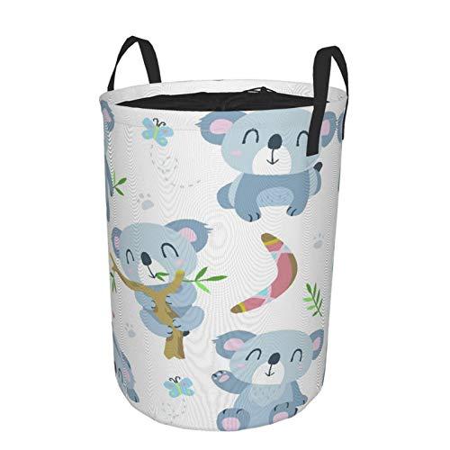 Zusammenklappbar Groß Wäschekorb für den Haushalt,Bär Cartoon Koala Baby Bumerang Nette Aborigines,Lagerplatz Wasserdicht mit Kordelzug,14