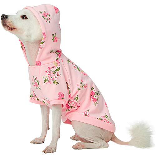 Blueberry Pet Frühlingsduft Inspirierter Margeriten-Blüten Pullover Hunde-Kapuzen-Sweatshirt in Baby Pink, Rückenlänge 25cm, Einzelpackung Bekleidung für Hunde