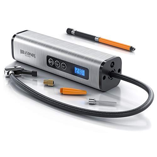 Brandson - Elektrischer Kompressor Luftpumpe 12 V 150 Psi - digital - mit Li-Ion Akku - 10,3 bar - Netzteil 230V und Autoadapter - LCD Display - Fahrrad Motorrad und Autoreifen - Sportartikel Bälle