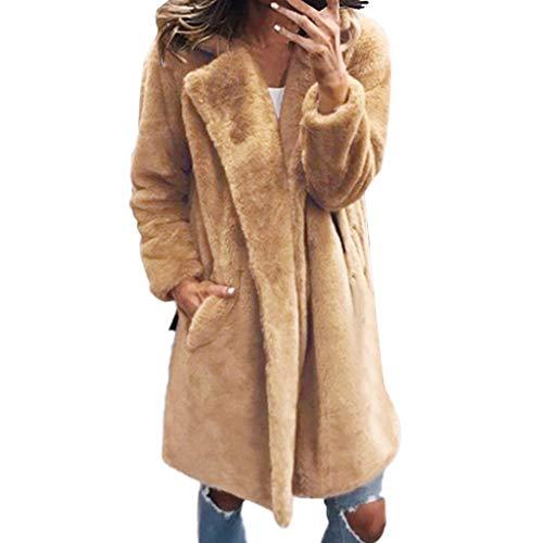 Anliyou Damen Pelzmantel Faux Fur Wintermantel Knielang Oversize künstlich Fellmantel mit Umlegekragen und Taschen Parka Übergangsmantel elegant Langmantel flauschig plüsch Kuschelmantel