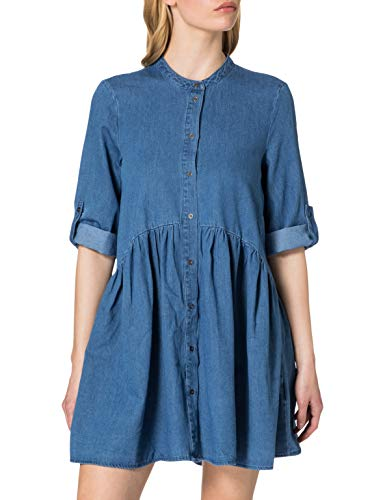 ONLY Damen ONLCHICAGO Life DNM 3/4 Dress QYT Kleid, Light Blue Denim, L