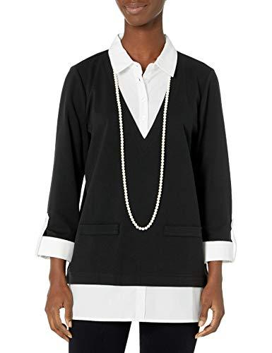 KARL LAGERFELD Paris Damen Twofer W PRL NECKLAC Hemd, schwarz, X-Groß