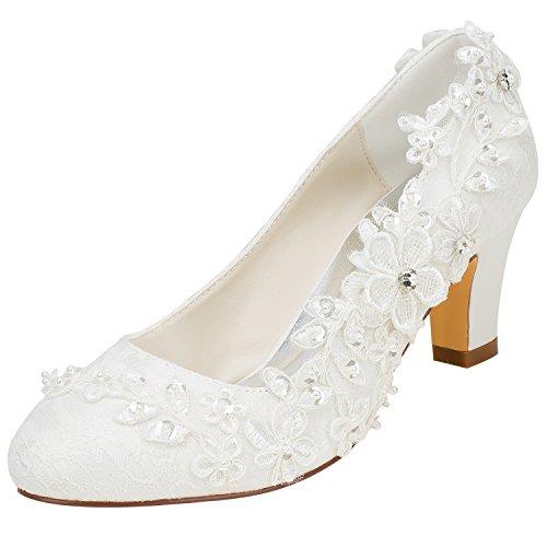 Emily Bridal Brautschuhe Frauen Seide wie Satin Stämmiger Absatz Absatzschuhe mit Stich Spitzen Blume Kristall Perle, Elfenbein, 37 EU (4 UK)