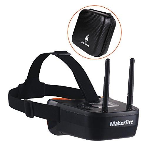 Makerfire 5.8Ghz Mini FPV Brille 3 Zoll 40CH FPV Video Headset Brille mit Doppel RP-SMA Antenne und Handtasche Eingebaute 1200mAh Batterie für FPV Racing Drone Quadcopters (Schwarz)