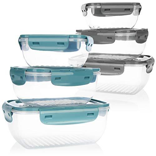 com-four® 6-teiliges Frischhalte-Dosen Set - Vorratsdosen aus Kunststoff in 3 Größen für Camping oder Picknick - Aufbewahrungsbox mit Deckel für Obst, Gemüse, Snacks (06-teilig - grau/türkis)
