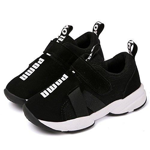 Daclay Kinder Schuhe Jungen Mädchen Leichtes Mesh Obermaterial Komfortabel Klettverschluss Turnschuhe (Schwarz, Numeric_31)