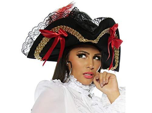 Schwarzer Piratenhut Dreispitz für Damen mit Spitze und Schliefen Fasching Outfit