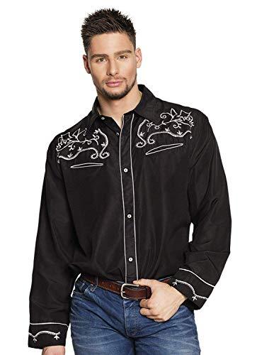 Boland - Herren-Hemd Western, Schwarz mit Stickerei, verschiedene Größen, Cowboy, Wilder Westen, Kostüm, Karneval, Mottoparty