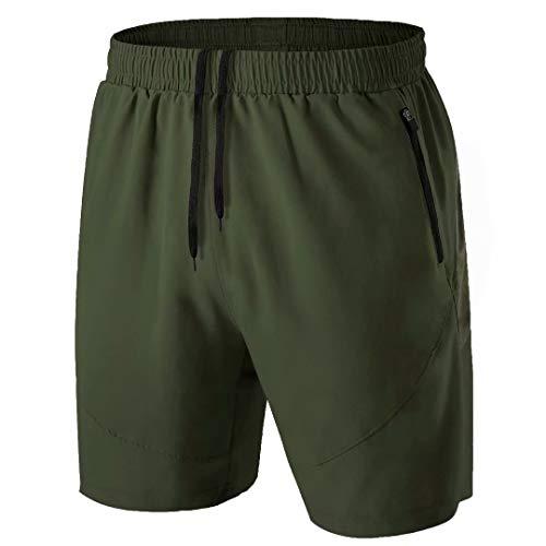 Herren Sport Shorts Kurze Hose Schnell Trocknend Sporthose Leicht mit Reißverschlusstasche(Armeegrün,EU-M/US-S)
