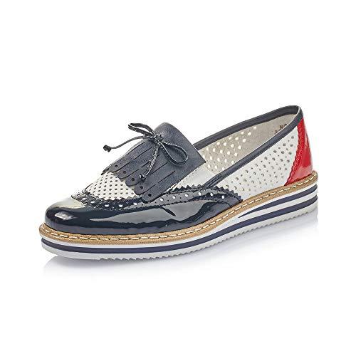 Rieker Damen SlipperMokassins N0275, Frauen Slipper, schlupfhalbschuh Slip-on College Schuh Loafer businessschuh Damen Frauen,Marine,38 EU / 5 UK