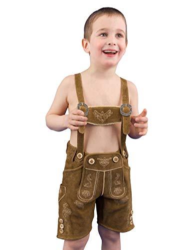 Almsach Trachten Trachtenlederhose Kinder Simmerl Kid REH Ziegenvelour Kinderlederhose Lederhose Kinder Jungen - 140