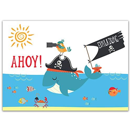 Pandawal 12x Einladungskarten Kindergeburtstag Piraten Party tolle Einladung für Kinder geeignet für Mädchen und Junge Ideal für Geburtstag Schwimmbad Ausflug Kinderparty